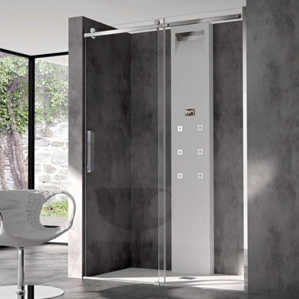 Box doccia installazione in nicchia 1 anta fissa+1 anta scorrevole argento lucido vetro trasparente Csa minerva fs