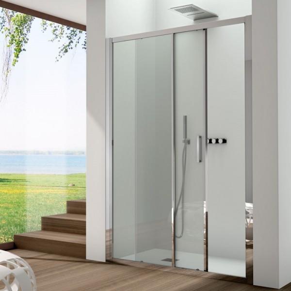 Box doccia installazione in nicchia 1 anta fissa+1 anta scorrevole argento satinato vetro trasparente Csa cinzia fs