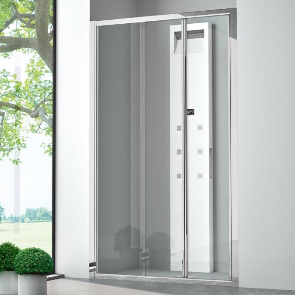 Box doccia installazione in nicchia 1 anta fissa+1 anta pieghevole argento satinato vetro trasparente Csa nora fp