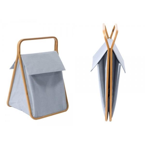 Cesta portabiancheria laundry double in bamboo curvato a caldo