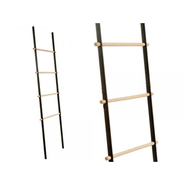 Scala porta asciugamano in metallo nero opaco e legno cipì