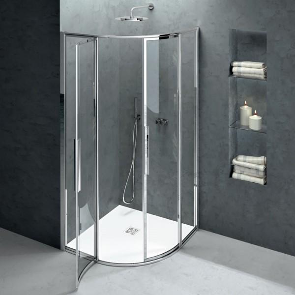 Box doccia semicircolare 70x90 cristallo trasparente