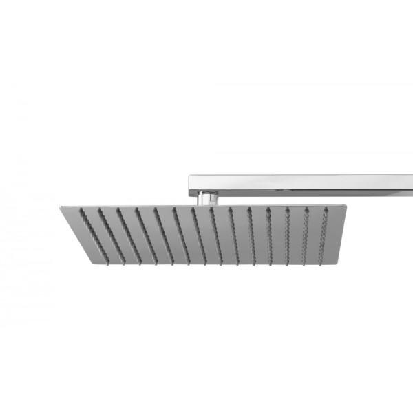 Soffione doccia rettangolare in acciaio inox 300x200 mm Ares square