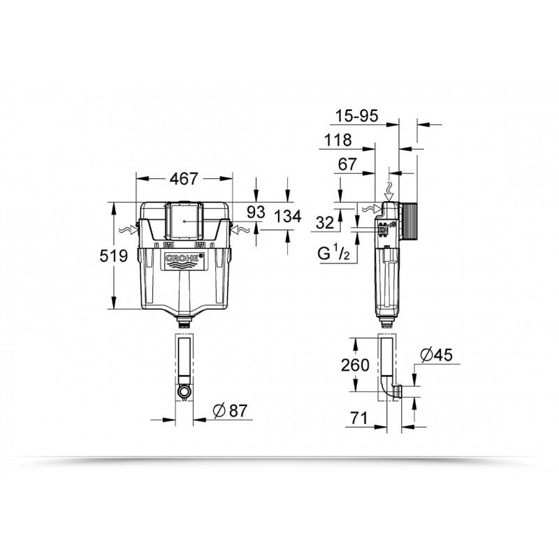Cassetta di sciacquo per wc spessore 80mm Grohe da incasso due pulsanti con placca cromata kit completo
