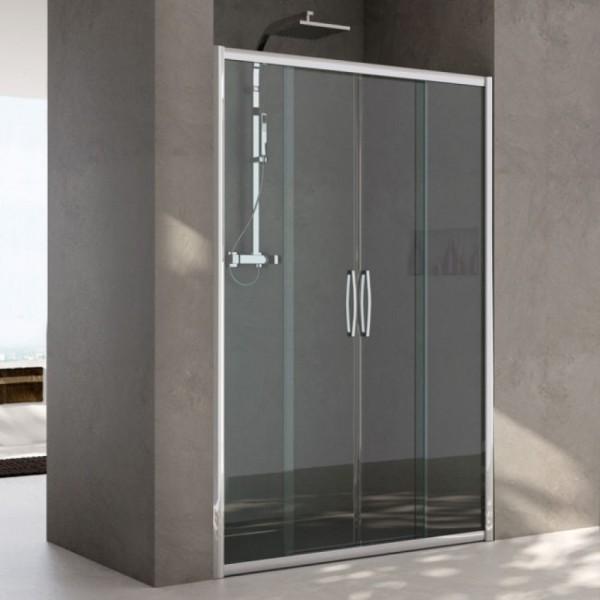 Box doccia installazione in nicchia 2 ante fisse+2 ante scorrevoli argento lucido vetro trasparente Csa erica 2fs