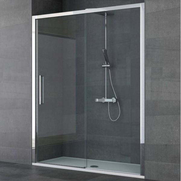 Box doccia installazione in nicchia 1 anta fissa+1 anta scorrevole argento lucido vetro trasparente Csa lia fs