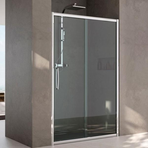 Box doccia installazione in nicchia 1 anta fissa+1 anta scorrevole argento lucido vetro trasparente Csa erica fs