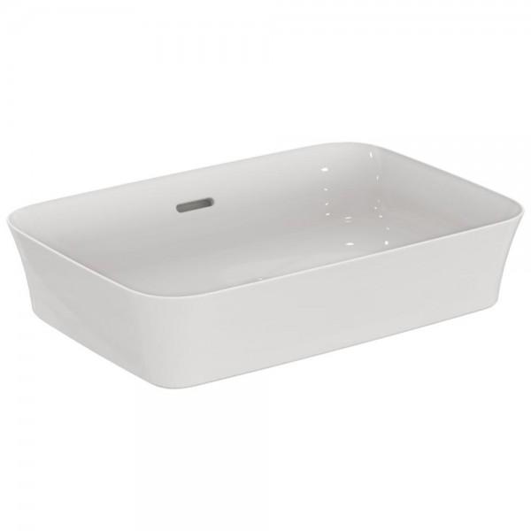 Lavabo d'appoggio 550x380x115mm Ideal standard ipalys bianco ultrasottile rettangolare con foro troppo pieno