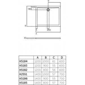 Piatto Doccia In Acrilico Ultraflat 70x120