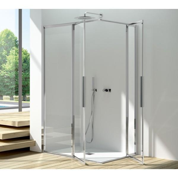 Box doccia installazione ad angolo 2 ante fisse+2 ante battenti argento satinato pannelli in acrilico Csa greta a.2fb