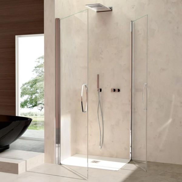 Box doccia installazione ad angolo 2 ante battenti argento lucido pannelli in vetro Csa camilla a.2fb