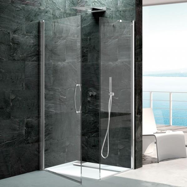 Box doccia installazione ad angolo 1 anta fissa+ 1 battente argento lucido pannelli in vetro Csa camilla a.b+l