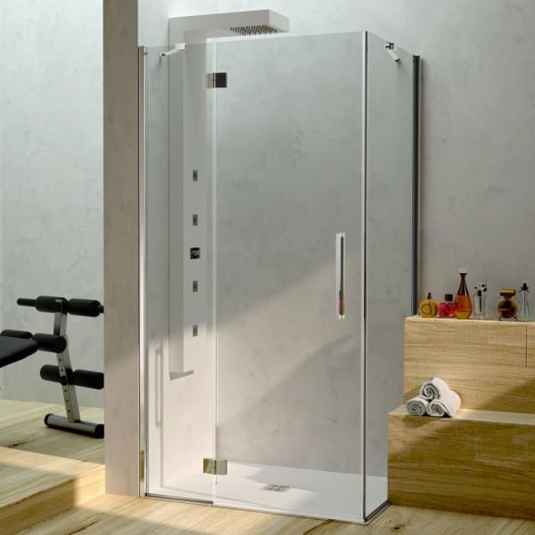 Box doccia installazione ad angolo 1 anta fissa+ 1 battente cromo pannelli in vetro Csa alice a.b+l